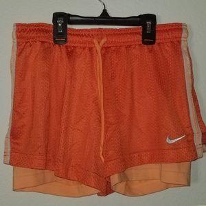 Orange Nike Compression Shorts